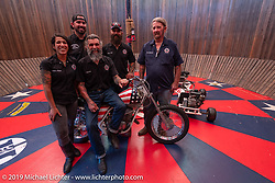 Jay Lightning, Charlie Ransom, Hobo Bill, Reckless Rita and Josh in their American Motordrome Wall of Death at the Handbuilt Show. Austin, TX. USA. Sunday April 22, 2018. Photography ©2018 Michael Lichter.
