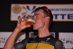 August 3, 2018 - Putte, BELGIUM - Belgian Yves Lampaert of Quick-Step Floors celebrates after winning the 3rd edition of the 'Natourcriterium Putte' cycling event, Friday 03 August 2018 in Putte. The contest is a part of the traditional 'criteriums', local races in which mainly cyclists who rode the Tour de France compete...BELGA PHOTO LUC CLAESSEN (Credit Image: © Luc Claessen/Belga via ZUMA Press)