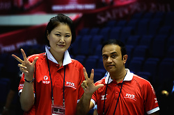 26-08-2013 VOLLEYBALL: WORLD GRAND PRIX FINAL6: SAPPORO<br /> The day for the preliminary inquiry and the first CC meeting / Referee Ms. Joo-Hee Kang (KOR) and  Referee Mr. Hamid Alrousi (UAE)<br /> ©2013-FotoHoogendoorn.nl