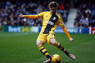 Luke Garbutt of Fulham preparing a cross into the penalty box.  Skybet football league championship match, Queens Park Rangers v Fulham at Loftus Road Stadium in London on Saturday 13th February 2016.<br /> pic by Steffan Bowen, Andrew Orchard sports photography.