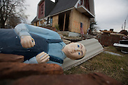 Union Beach NJ, November 16,  A statue in front of a  church destroyed by superstorm Sandy's surge, that damaged over 200 homes in Union Beach alone. Hurricane Sandy's strength is being blamed on climate change by many scientists.