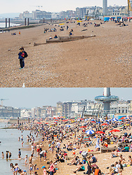 © Licensed to London News Pictures. 29/05/2018. Brighton, UK. Comparison picture showing an empty beach at Brighton seafront on a wet and cold day, May 29th (TOP) and the same beach packed with members of the public, yesterday, May 28th (BOTTOM)  on one of the hottest days of the year so far. Photo credit: Hugo Michiels/LNP
