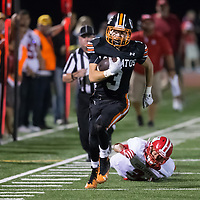(Photograph by Bill Gerth/ for SVCN/9/8/17)Los Gatos #3 Cole Peterson turns the corner for a big gain vs San Benito  in a preseason football game at Los Gatos High School, Los Gatos CA on 9/8/17. (San Benito 21 Los Gatos 20)