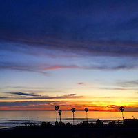 USA, California, San Diego. Cardiff by the Sea sunset.