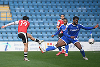 Football - 2020 / 2021 Emirates FA Cup - Round 2 - Gillingham vs Exeter City - Priestfield Stadium<br /> <br /> Exeter City's Joel Randall scores his side's second goal.<br /> <br /> COLORSPORT/ASHLEY WESTERN