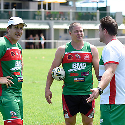 BRISBANE, AUSTRALIA - MARCH 18: Travis Burns and Wynnum Manly coaching staff during the NRL Development Junior Clinic and QRL training session at Ron Stark Oval on March 18, 2017 in Brisbane, Australia. (Photo by Patrick Kearney/Wynnum Manly Seagulls)