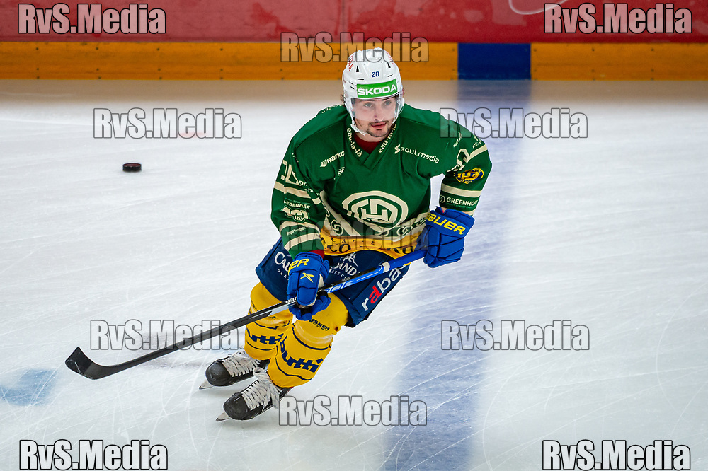 LAUSANNE, SWITZERLAND - SEPTEMBER 24: Axel Simic #28 of HC Davos warms up prior the Swiss National League game between Lausanne HC and HC Davos at Vaudoise Arena on September 24, 2021 in Lausanne, Switzerland. (Photo by Robert Hradil/RvS.Media)