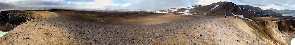 Iceland. Panorama from the Víti explosion crater on the north east shore of Oskjuvatn, Askja.
