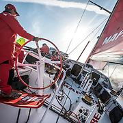 Leg Zero, Rolex Fastnet Race: start on board MAPFRE, Rob at thr weel . Photo by Ugo Fonolla/Volvo Ocean Race. 06August, 2017