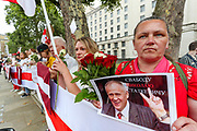 """""""STOP Killing People! Free Belarus"""" are among the slogans Belarussians gathered and shouted in front of Downing Street, Whitehall in central London on Saturday, Aug 15, 2020. <br /> A political crisis continues in Belarus, an Eastern European nation of 9.5 million people, with many opponents of Mr Lukashenko insisting they will fight on. Thousands of protesters are believed to have been detained, and videos of civilians being beaten by the police continue to emerge, potentially further galvanizing public anger. (VXP Photo/ Vudi Xhymshiti)"""