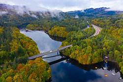 Aerial view of A9 highway bridge crossing Loch Faskally in Pitlochry, Perthshire, Scotland, UK
