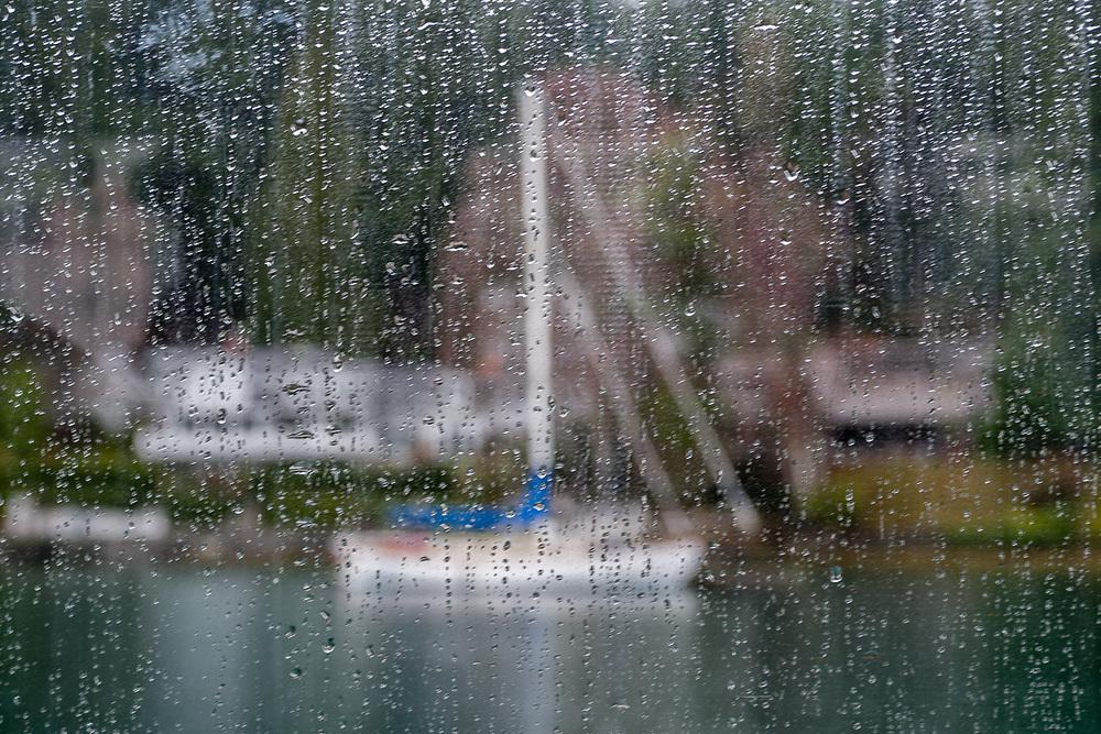 Rain drops on boat window, winter, Gig Harbor, WA, USA