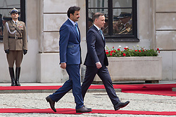 May 5, 2017 - Warsaw, Poland - Emir of Qatar Tamim bin Hamad Al Thani (L) and President of Poland Andrzej Duda (R) at Presidential Palace in Warsaw, Poland on 5 May 2017  (Credit Image: © Mateusz Wlodarczyk/NurPhoto via ZUMA Press)