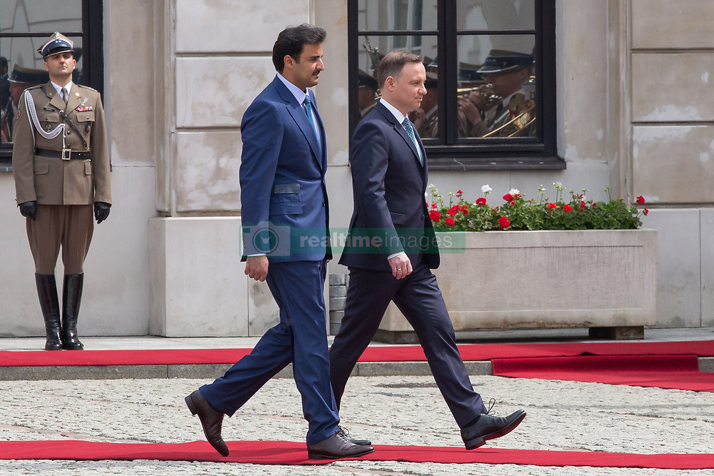 May 5, 2017 - Warsaw, Poland - Emir of Qatar Tamim bin Hamad Al Thani (L) and President of Poland Andrzej Duda (R) at Presidential Palace in Warsaw, Poland on 5 May 2017  (Credit Image: © Mateusz Wlodarczyk/NurPhoto via ZUMA Press)