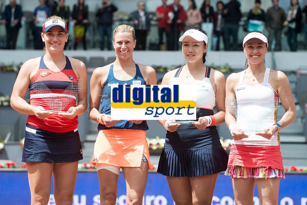 Hungarian Timea Babos, Czech Andrea Hlavackova, Taiwanese Chan Yung-jan and swiss Martina Hingis during Mutua Madrid Open Sub16 Tennis 2017 at Caja Magica in Madrid, May 13, 2017. Spain.<br /> (ALTERPHOTOS/BorjaB.Hojas)