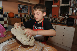 9 year old making pizza dough UK