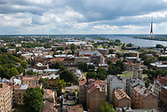 Riga, Latvia - August 26, 2015: Cityscape view of Riga, seen from the roof of the Academy of Science. The Riga Radio and TV Tower, in the upper right, is the tallest structure in the European Union.
