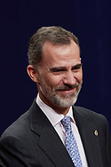 King Felipe VI of Spain attended an audience with Princesa de Asturias Awards 2017 winners at the Reconquista Hotel on October 20, 2017 in Oviedo, Spain.