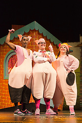 """© Licensed to London News Pictures. 05/08/2015. London, UK. L-R: Taofique Folarin, Daniel Buckley and Leanne Jones. West End premiere of the children's story """"The 3 Little Pigs"""" at the Palace Theatre starring Simon Webbe as Wolf, Alison Jiear as Mother, Leanne Jones as Bee, Taofique Folarin as Bar and Daniel Buckley as Q. The show runs from 5 August to 6 September 2015. Photo credit: Bettina Strenske/LNP"""
