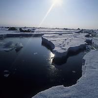 Expedition camp on frozen Arctic Ocean.