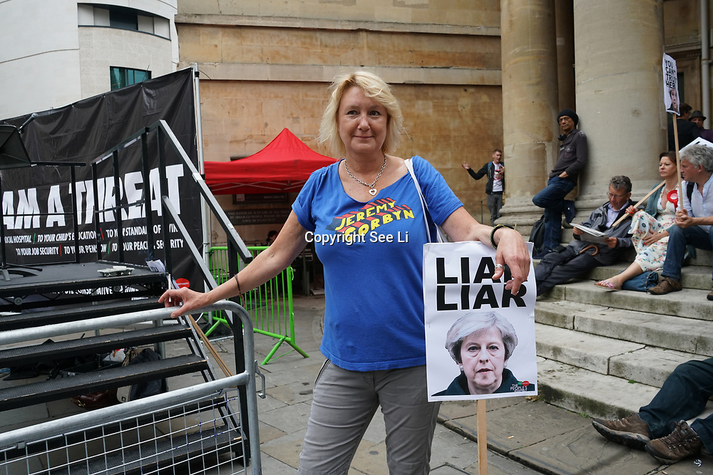 """London,England,London,UK. 2nd June 2017. Anti-Theresa May demo outside the BBC """"I am a threat"""" no1 song -Liar Liar."""
