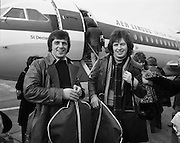 "The Swarbriggs Go To Eurovision Final.<br /> 1975.<br /> 18.03.1975.<br /> 03.18.1975.<br /> 18th March 1975.<br /> Following their success in the National Song Contest, the Swarbrigg brothers, Tommy and Jimmy had the honour of representing Ireland In The Eurovision Song Contest. The contest will be staged in Stockholm, Sweden. Sweden were last years' winners with ""Teach In"" sung by ""Ding a Dong"".<br /> <br /> Image of Jimmy (L) and Tommy Swarbrigg as they are about to board the Aer Lingus aircraft bound for Sweden."