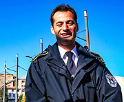 Besim Hoti, Kosovo's Police Service spokesman is seen over the main Bridge that divides Kosovo's northern city of Mitrovica. <br />