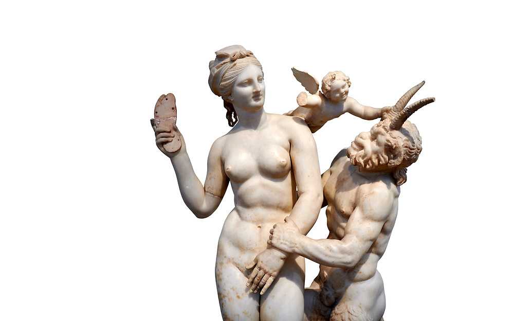 Hellenstic marble statue group of Aphrodite (Venus) with Pan and Eros, Circa 100 BC, House of Poseidonaistai of Beryttos, Delos, Athens National Archaeological Museum.  Cat no 3335. Against white.<br /> <br /> The nude goddess Aphrodite (Venus) attempte to fend off goat footed Pan who make erotic advances towards her. Aphrodite holds a sandal in her right hand threatening Pan while the winged god Eros comes to her aid. According to an inscription on the statues base it was dedicated to Dionysus of Beryttos (Beirut) to hai ancestral gods. .<br /> <br /> If you prefer to buy from our ALAMY STOCK LIBRARY page at https://www.alamy.com/portfolio/paul-williams-funkystock/greco-roman-sculptures.html . Type -    Athens    - into LOWER SEARCH WITHIN GALLERY box - Refine search by adding a subject, place, background colour, etc.<br /> <br /> Visit our ROMAN WORLD PHOTO COLLECTIONS for more photos to download or buy as wall art prints https://funkystock.photoshelter.com/gallery-collection/The-Romans-Art-Artefacts-Antiquities-Historic-Sites-Pictures-Images/C0000r2uLJJo9_s0