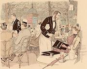 Taking refreshment on the terrace of a Parisian Café. Paris, France.  From 'Paris Brillant' by 'Mars' (Maurice Bonvoisin - 1849-1912) (Paris, c1890). Lithograph.