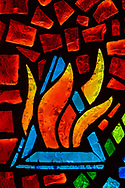 Stained glass depicting Pentecost and the trinity, on Tuesday, Aug. 24, 2021, at Grace Lutheran Church, Summerville, S.C. LCMS Communications/Erik M. Lunsford