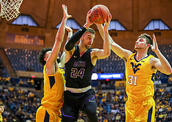 Mar 20, 2019; Morgantown, WV, USA; Grand Canyon Antelopes guard Tim Finke (24) grabs a rebound during the first half against the West Virginia Mountaineers at WVU Coliseum. Mandatory Credit: Ben Queen
