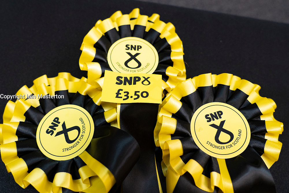 Edinburgh, Scotland, UK. 27 April, 2019. SNP ( Scottish National Party) Spring Conference takes place at the EICC ( Edinburgh International Conference Centre) in Edinburgh. Pictured; SNP rosettes for sale at SNP souvenir stall.