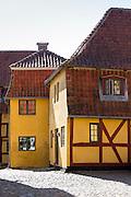 Old buildings in Langegade at Kerteminde on Funen Island, Denmark