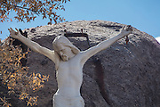 Statue of the Crucifixion of Jesus at the Shrine of St. Joseph in Yarnell, Arizona, damaged in the Yarnell Hill Fire, July, 2013.