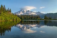 Mount Rainier reflected in Bench Lake, Mount Rainier National Park Washington