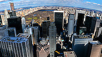 US, New York City. View from Top of the Rock Observation Deck, 30 Rockefeller Plaza.  Central Park. Stitched panorama.