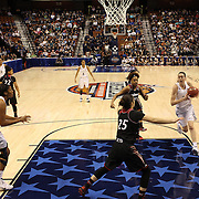 Breanna Stewart, UConn, drives to the basket during the UConn Vs Cincinnati Quarterfinal Basketball game at the American Women's College Basketball Championships 2015 at Mohegan Sun Arena, Uncasville, Connecticut, USA. 7th March 2015. Photo Tim Clayton
