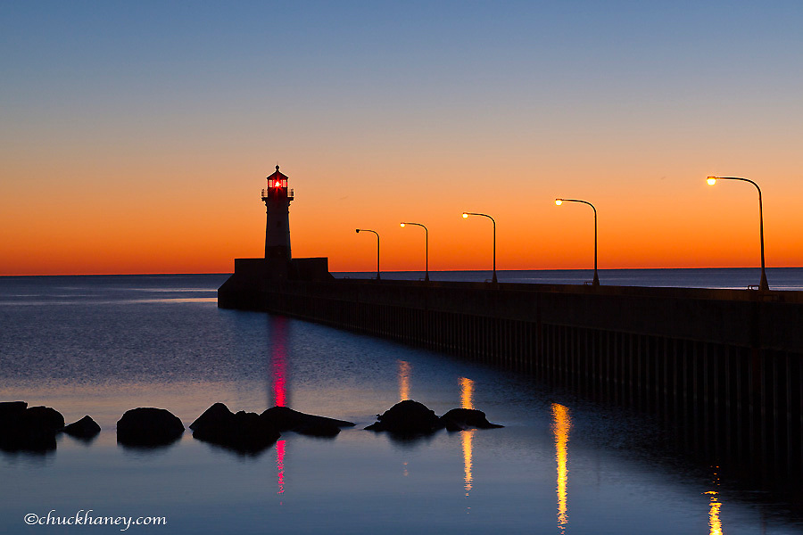 North pier Lighthouse in Duluth, Minnesota, USA
