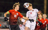 Ft. Zumwalt South's Blake Mann and Parkway Central's Adam Burnett go up for a header during a Class 3 quarterfinal soccer match on Saturday, Nov. 10, 2018, at Fort Zumwalt South High School in St. Peters, Mo.  Gordon Radford   Special to STLhighschoolsports.com