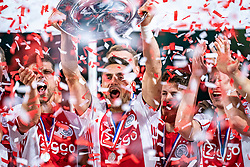 15-05-2019 NED: De Graafschap - Ajax, Doetinchem<br /> Round 34 / It wasn't really exciting anymore, but after the match against De Graafschap (1-4) it is official: Ajax is champion of the Netherlands / Dusan Tadic #10 of Ajax, Lasse Schone #20 of Ajax, Frenkie de Jong #21 of Ajax, Klaas Jan Huntelaar #9 of Ajax
