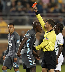 September 22, 2018 - Minneapolis, MN, USA - Minnesota United midfielder Maximiano (31) got in the face of referee Dave Gantar after midfielder Fernando Bob (12) was shown a red card in the second half against the Portland Timbers on Saturday, Sept. 22, 2018, at TCF Bank Stadium in Minneapolis. The host Loons won, 3-2. (Credit Image: © Aaron Lavinsky/Minneapolis Star Tribune/TNS via ZUMA Wire)