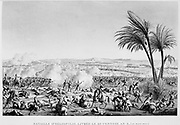 Battle of Heliopolis,  Egypt, 20 March 1800.  French under Jean-Baptiste Kleber defeated the Ottomans under Nassif Pasha. Engraving.