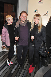 Left to right, JAIME WINSTONE, NICHOLAS KIRKWOOD and JO WOOD at a party to celebrate the launch of a limited edition shoe The Chambord in celebration of Nicholas Kirkwood's partnership with Chambord black raspberry liqueur, held at the Nicholas Kirkwood Boutique, 5 Mount Street, London on 12th December 2012.