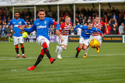 GOAL - Rangers Captain James Tavernier fires his side in to an unassailable first half lead during the Ladbrokes Scottish Premiership match between Hamilton Academical FC and Rangers at The Hope CBD Stadium, Hamilton, Scotland on 24 February 2019.