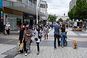 More people are now coming to the city centre shopping district and things are getting back to normal with shoppers now used to the easing of coronavirus restrictions on 3rd August 2021 in Birmingham, United Kingdom. The Bull Ring on this day felt almost like business as usual, with fewer people wearing face masks, and a general feeling that life is getting back to normal.