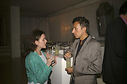 JOSEPH ALLOSA AND RADHA BURGEY, Amy Sacco. American nightclub promoter. Book launch party for 'Cocktails' Sanderson Hotel, Berners Street, London,10 July 2006. ONE TIME USE ONLY - DO NOT ARCHIVE  © Copyright Photograph by Dafydd Jones 66 Stockwell Park Rd. London SW9 0DA Tel 020 7733 0108 www.dafjones.com