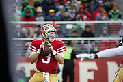 San Francisco 49ers quarterback C.J. Beathard (3) looks for an open receiver against the Seattle Seahawks at Levi's Stadium in Santa Clara, Calif., on November 26, 2017. (Stan Olszewski/Special to S.F. Examiner)