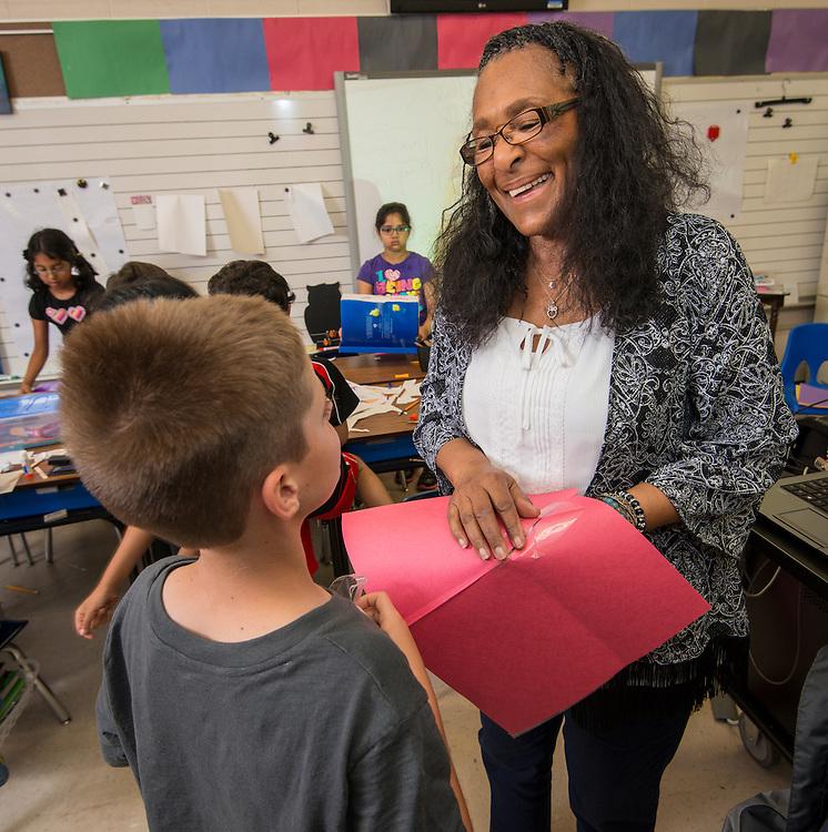 Lola McIntosh-Williams teachers second grade at TH Rogers School, May 11, 2015.