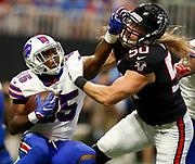 Buffalo Bills running back LeSean McCoy (25) stiff arms Atlanta Falcons defensive end Brooks Reed (50) in a week 4 NFL football game on Sunday, Oct. 1, 2017 in Atlanta, GA. (Mike Zarrilli/AP Images for Panini, via AP)