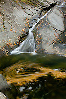 Leaves swirling in pool at the base of Hamilton Falls Green Mountains Vermont USA